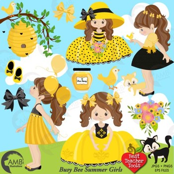Bumble Bee Clipart, Little Girl Bee clipart,  AMB-1054