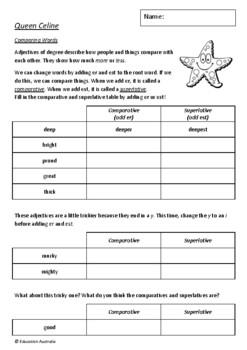 Queen Celine by Matt Shanks - 6 Worksheets / Activities