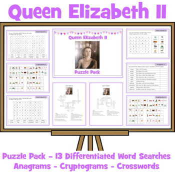 Queen Elizabeth Activity Pack - Crosswords, Anagrams, Word Seaches, Cryptograms