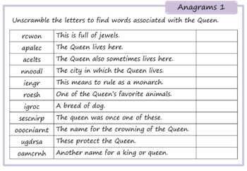 Queen Elizabeth Activity Pack - Crosswords, Anagrams, Word Seaches, Cryptograms