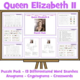 Queen Elizabeth Puzzle Pack - Crosswords, Anagrams, Word Seaches, Cryptograms