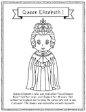Queen Elizabeth I Coloring Page Craft or Poster with Mini Biography, England