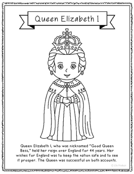 Queen Elizabeth I Coloring Page Activity or Poster with Mi