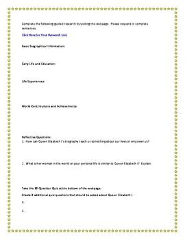 Queen Elizabeth I Internet Research Guide