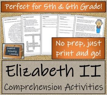 Queen Elizabeth II - 5th & 6th Grade Close Reading & Biography Bundle