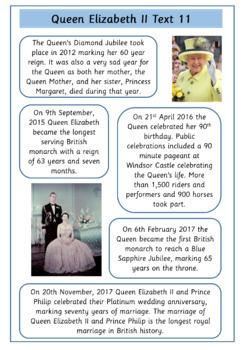 Queen Elizabeth - Set of 12 Simple Text Comprehensions