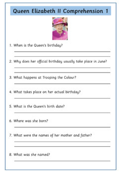 Queen Elizabeth - Set of 12 Simple Text Comprehensions