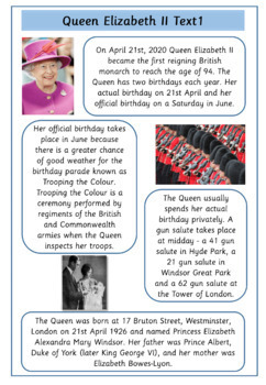Queen Elizabeth II - 11  Information Sheets and Comprehensions