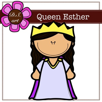 Queen Esther Digital Clipart (color and black&white)