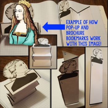 Queen Isabella Biography Research, Bookmark Brochure, Pop-Up, Writing