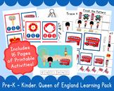 Queen PreSchool Kindergarten Learning Pack Q is for Queen E is for England