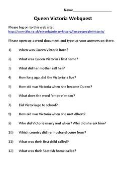 Queen Victoria Webquest