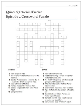 Queen Victoria's Empire Cloze Worksheets and Puzzles BUNDLE: All Four Episodes