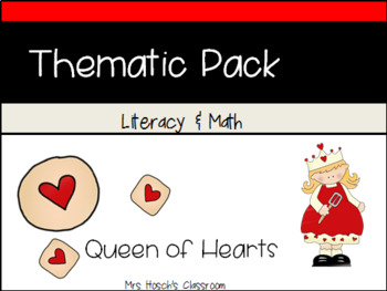 Queen of Hearts Nursery Rhyme Literacy Unit Preschool/ Pre-k/ Kindergarten