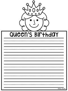 Queen's Birthday No Prep Writing Craft Activity