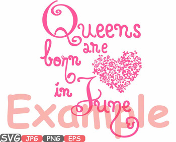 Queens are born in April May June heart Birth clipart svg CROWN Birthday -563S