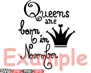 Queens are born in October November December heart Birth clipart Birthday 556S