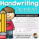 Queensland Beginners Font Handwriting Practice Sheets