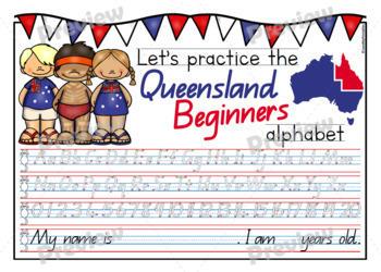 Queensland Beginners Handwriting Template | Queensland Kids Theme | NEW LOOK!