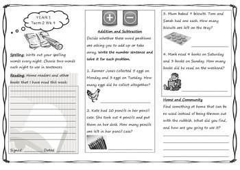 Queensland Year 1 Homework Sheets for Unit 3