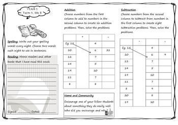 Queensland Year 1 Homework for Unit 8