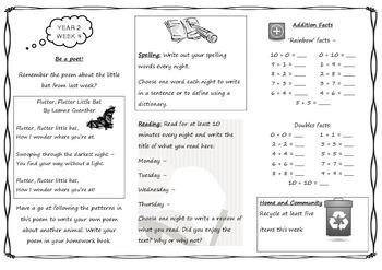 Queensland Year 2 Homework Sheet Set for Unit 1