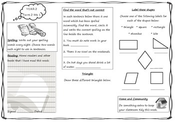 Queensland Year 2 Homework Sheets for Unit 3