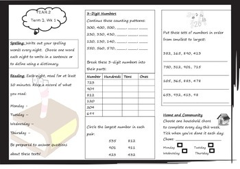 Queensland Year 2 Homework for Unit 5