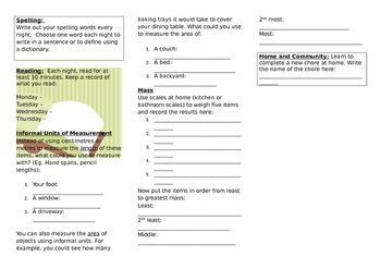 Queensland Year 2 Homework for Unit 7