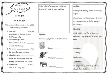 Queensland Year 3 Homework for Unit 4