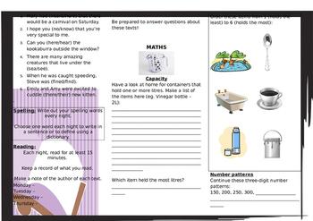 Queensland Year 3 Homework for Unit 6