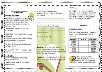 Queensland Year 4 Homework for Unit 3