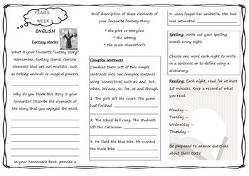 Queensland Year 5 Homework Set for Unit 1