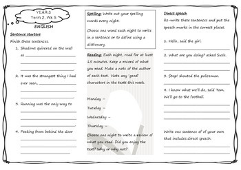 Queensland Year 5 Homework for Unit 3 Week 5