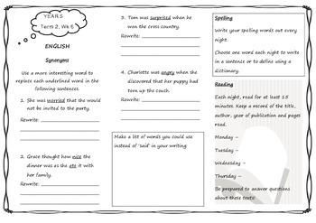 Queensland Year 5 Homework for Unit 4