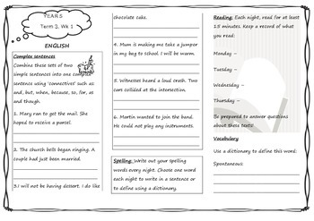 Queensland Year 5 Unit 5 Week 1 Homework