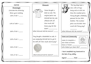 Queensland Year 6 Homework Set for Unit 2 English and Maths