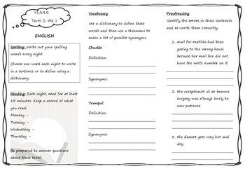 Queensland Year 6 Homework for Term 3 Week 1
