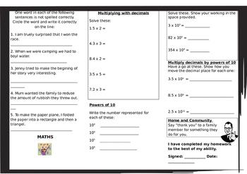 Queensland Year 6 Homework for Unit 3