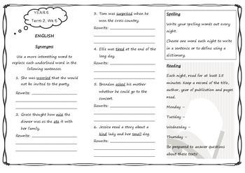 Queensland Year 6 Homework for Unit 4