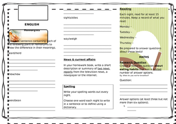Queensland Year 6 Homework for Unit 8