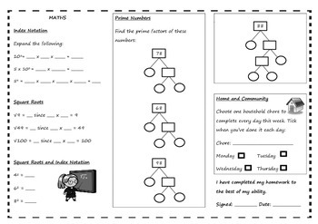 Queensland Year 7 Homework Set for Unit 1 English & Maths
