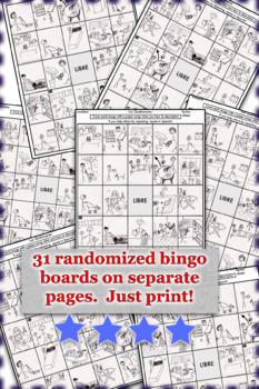 Los quehaceres / Chores Bingo Activity Pack Spanish