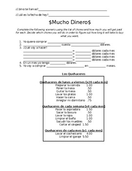 Quehaceres (Chores) allowance activity