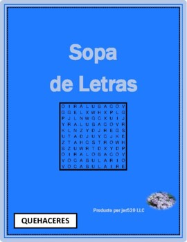 Quehaceres (Chores in Spanish) Wordsearch for differentiated learning
