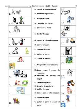 Quehaceres QUIZ matching / Chores Spanish Quiz