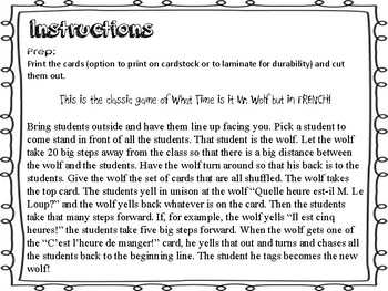 Quel Heure est-il M. Le Loup - Ontario Core French/French Immersion Game