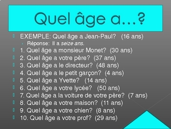 Quel âge (Age in French) power point