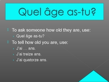 Quel âge (Age in French) PowerPoint