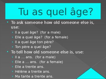 Quel âge (Age in French) power point Bien Dit / C'est à toi version